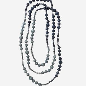 Noonday Collection Paper Bead Indigo Rope Necklace